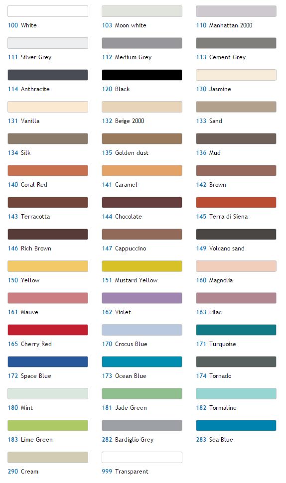Mapei Mastic Colour Chart